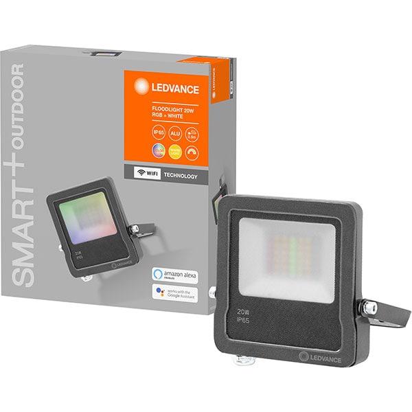 Proiector LED Smart LEDVANCE FLOOD, 20W, 1260 lumeni, RGB, gri inchis