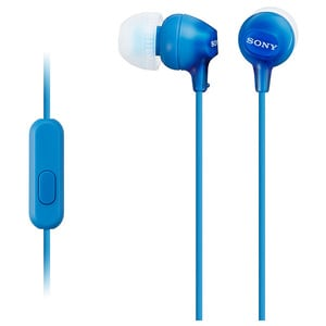 Casti SONY MDR-EX15APLI, Cu Fir, In-Ear, Microfon, albastru
