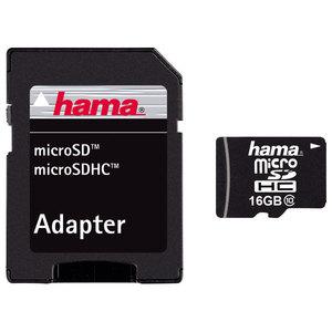 Card de memorie HAMA 108088 microSDHC, 16GB, Clasa 10, 22MBs, adaptor