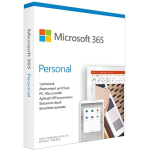Microsoft 365 Personal, Engleza, Subscriptie 1 an, 1 PC/Mac, 1 Tableta, 1 Telefon, Windows, MacOS, iOS, Android