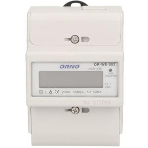 Contor monofazat ORNO OR-WE-502, 80A, 230V, IP20, alb