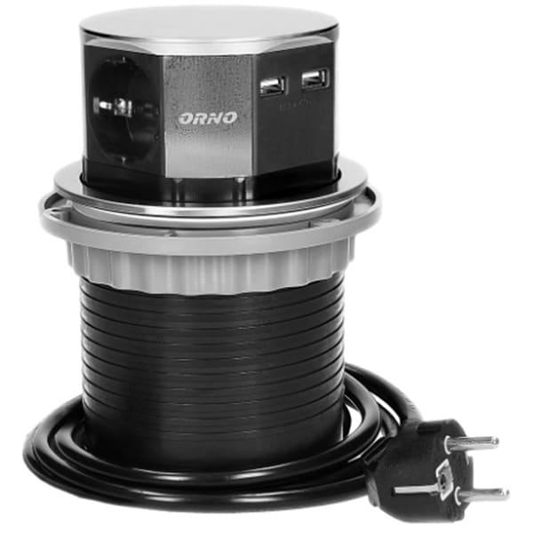 Prelungitor ORNO OR-AE-1381(GS), 3 prize, 2 x USB, 1.5m, montaj incastrabil, negru
