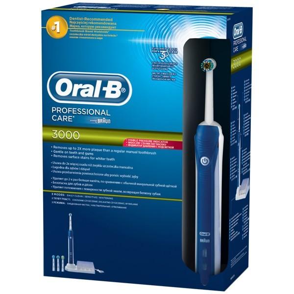 Periuta de dinti electrica ORAL-B PRO 3000 Cross action, 3 capete, curatare 3D, alb-albastru