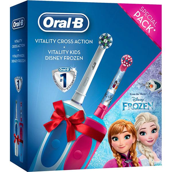Set Periuta de dinti electrica ORAL-B Vitality, 1 program, 7600 miscari/min, 1 capat, alb-albastru + Periuta de dinti electrica ORAL-B Frozen