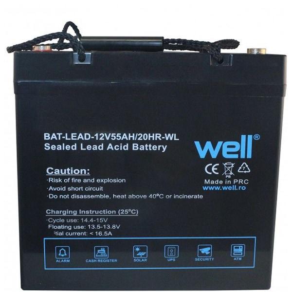 Acumulator plumb acid  WELL BAT-LEAD-12V55AH-WL, 12V, 55 Ah