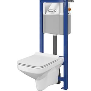 Set vas toaleta CERSANIT 738 SYSTEM 21, montaj incastrat, evacuare spate, cu capac, alb