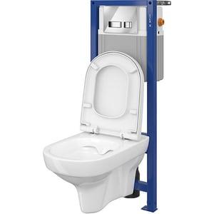 Set vas toaleta CERSANIT 823 SYSTEM 21, montaj incastrat, evacuare spate, cu capac, alb