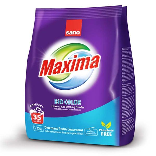 Detergent pudra SANO Maxima Biocolor, 1.25kg, 35 spalari
