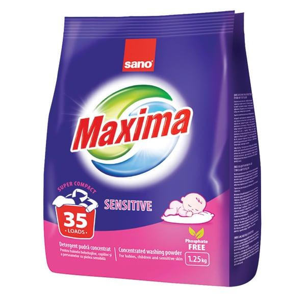 Detergent pudra SANO Maxima Sensitive, 1.25kg, 35 spalari