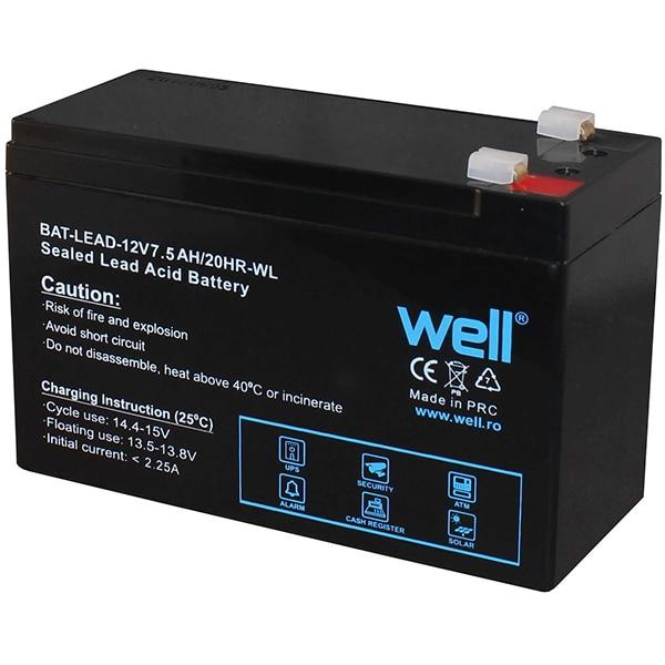 Acumulator plumb acid  WELL BAT-LEAD-12V7.5AH-WL, 12V, 7.5 Ah