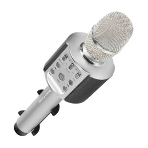 Microfon Karaoke PROMATE VocalMic-4, Bluetooth, Boza portabila, argintiu