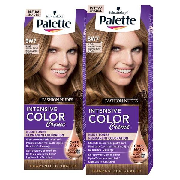 Pachet promo, Vopsea de par PALETTE Intensive Color Creme, BW7 Blond Mineral Inchis, 2 x 110ml