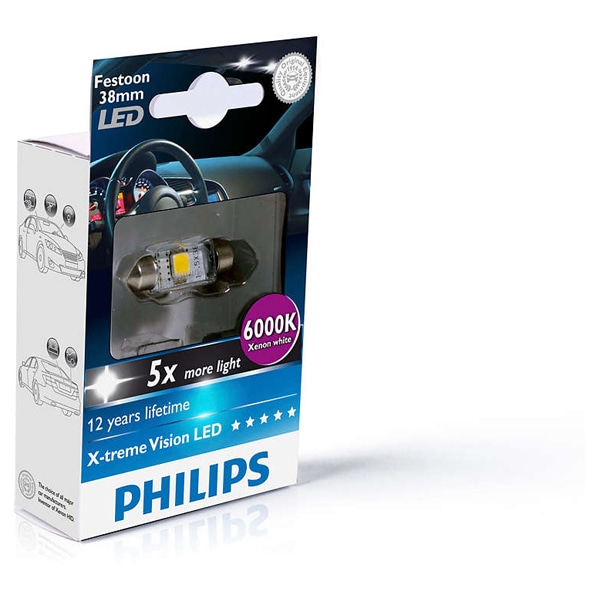 Bec auto led PHILIPS C5W Xtreme Vision, 12V, 1W/6000K, 38mm, 1 bucata