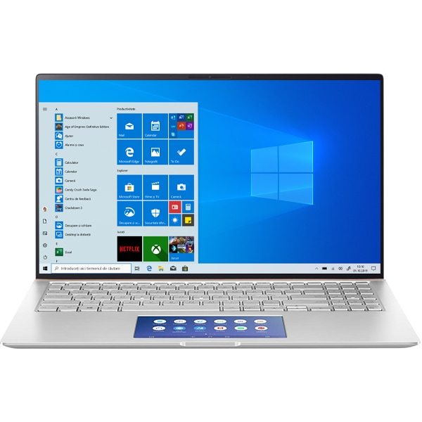 "Laptop ASUS ZenBook 15 UX534FAC-A8054T, Intel Core i7-10510U pana la 4.9GHz, 15.6"" Full HD, 16GB, SSD 512GB, Intel UHD Graphics 620, Windows 10 Home, Icicle Silver"