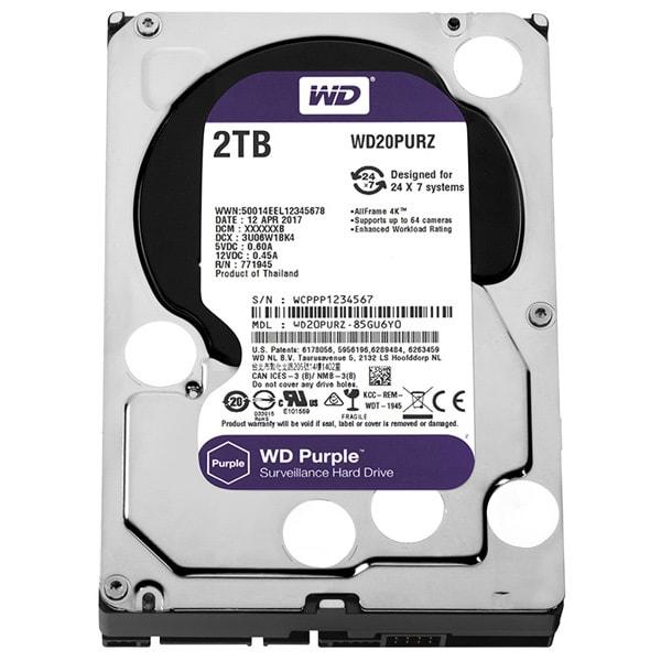 Hard Disk desktop WESTERN DIGITAL Purple, 2TB, Surveillance, SATA3, 64MB, WD20PURZ
